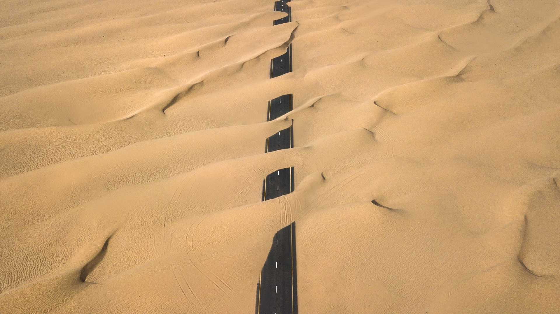 #Roadcovered with  #sand