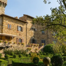 Dating back to the 1300s, with panoramic loggia, frescoed ceilings, cobbled courtyard and manicured gardens, this castle has it all. Location: Florence, Italy